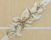 Bridal belt Wedding belt Rose Gold Bridal sash Wedding sash Wedding dress belt Wedding dress belt sash, Ivory, Floral lace bridal belt