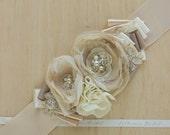 Wedding belts sashes, Bridal belt sash, Floral belt, Wedding belt, Champagne floral belt, Beige Ivory Champagne
