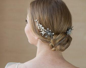 Bridal hair piece Bridal hair chain Star Black Rose Gold headpiece Bohemian Bridal chain headpiece wedding headpiece Bride hair accessory