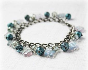CLEARANCE 40% OFF Butterfly Bracelet, Cluster Bracelet, Glass Bead Bracelet, Cha Cha Bracelet, Boho Bracelet, Elegant Bracelet, Shaggy Brace
