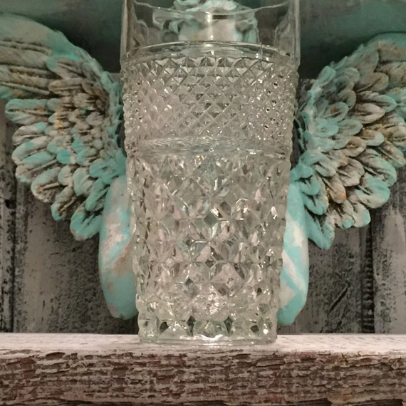French Farmhouse Glass Tumbler.romantic shabby cottage chic home decor. Wedding Crystal. Wedding Table Decor.