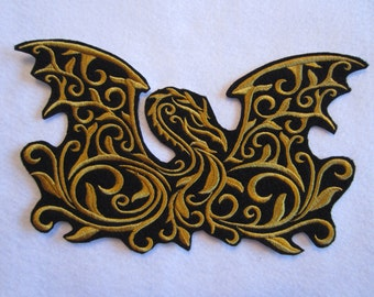 Embroidered Dragon Iron on Applique Patch, Patches, Dragons, Fusible