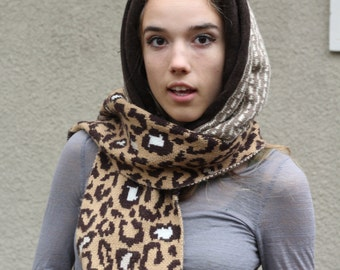Upcycled Recycled Repurposed Sweater Hooded Scarf Tribal Animal Print Spotted African Cheetah Earth Tones Boho Fashion