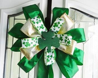 Large St. Patricks Day Door Bow Green Gold and shamrock print ribbons green shamrock center