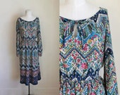 vintage 1970s peasant dress - TALAVERA floral folk dress / S/M