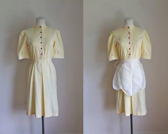 vintage 1980s day dress / LEMON PIE waitress dress / S