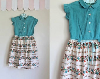 vintage 1950s girl's dress - PIXELATED FLORAL turquoise party dress / 6X