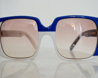Vintage YSL Yves Saint Laurent Oversized Square blue and white frame sunglasses circa 1970