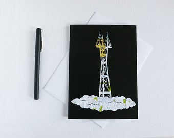 Sutro Tower Greeting Card // San Francisco Map Papercut // 5x7 Card Easy to Frame
