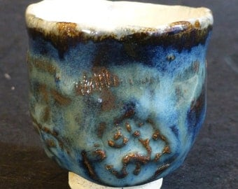 Blue and Cream Guinomi, Sake, Whiskey, Scotch Cup Hand Formed Signed George Watson artist