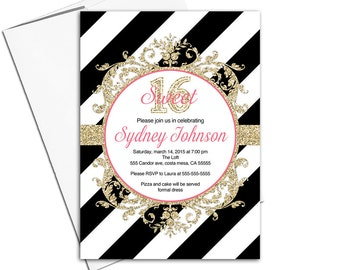 Unique Sweet 16 invitation teen girl | printable or printed black and gold invites with stripes - WLP00353