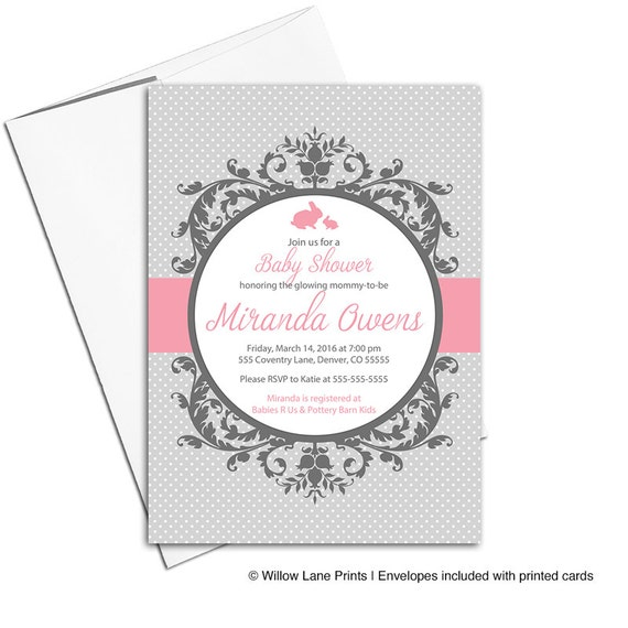 unique baby shower invitation girls pink and gray printable baby
