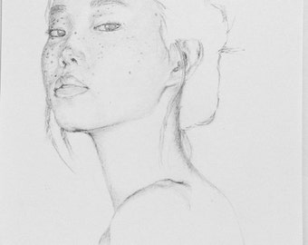 Portrait Of a Girl In Pencil, Fracled Face,Original Art, Oriental, Young Girl