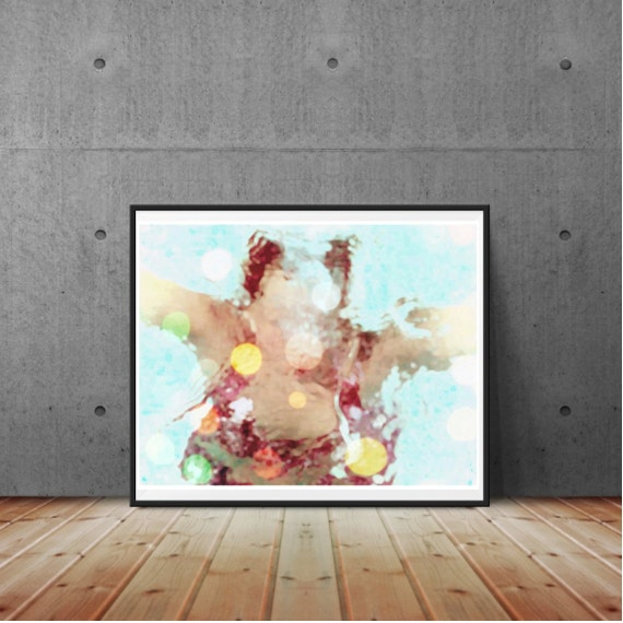 Vintage Swimmer, Underwater Photography, Art Print, blue, whimsical, colorful, summer vacation, woman underwater, wall art, home decor
