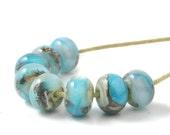 Lampwork Beads | Turquoise Blue Lampwork Glass Bead Set | Pale Blue and Aqua Handmade Beads | UK SRA Artisan Beads