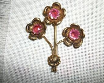 Vintage Floral  Pins - Pink Stones
