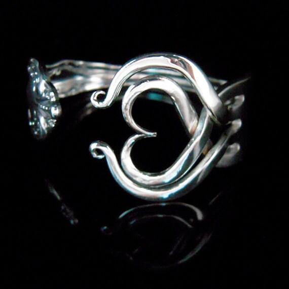 Vintage Wedding Jewelry, Recycled Fork Bracelet, Eco Friendly, Eco Wedding, Heart Design Number Three