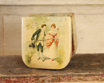 Antique Victorian Celluloid Box, 1900's French Keepsake Box, Art Nouveau, Shabby Romantic, Home & Living, French Home Decor, Soft Patina