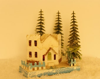Antique Putz House, Made in Japan, 1940's Christmas Collectible, Extra Large Vintage Putz Cardboard Christmas House,