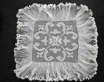 Large Square White Doily with Lavish Ruffle Vintage Linens
