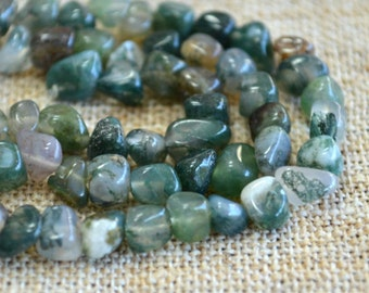 Agate Nuggets Moss Agate 8-15mm Green Mix Natural Strand 16 in