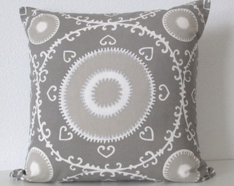 Samarkand Silver by Beacon Hill high end pillow cover -  medallion suzani decorative pillow cover
