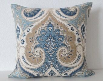 14x14 Ethan Allen Anjali Blue - Latika Delta - Linen Pillow Cover