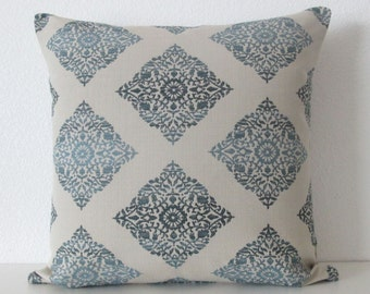 Bikram Fret Twilight medallion ombre blue decorative pillow cover