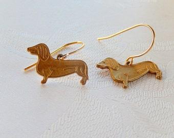 Dachshund Earrings, Dog Earrings, Small Dangle, Doxie Earrings, Gift for Her