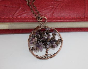 Tree Of Life Pendant / Amethyst & Smoky Quartz / Wire Wrapped Copper Jewelry / Feng Shui Jewelry