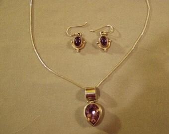 Vintage Sterling Silver Amethyst Pendant Necklace & Pierced Earrings  8749
