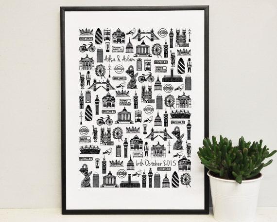 ... London print - London illustration - London wedding gift - Gift for