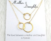 Mother-Daughter Necklace Set, Gold Eternity Double Hoop Necklace, Bridal Gift for Mom, Interlocking Double Circle Link, 24K Gold Vermeil