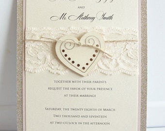 Heart Wedding Invitation, Glitter Invite, Wood Wedding Invitation, Rustic Wedding Invitation, Vintage Wedding Invitation,  HEART - GLITTER