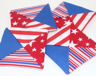 Coaster Fabric Set of 4 Square Quilt Style and One Piece Back Red White and Blue