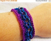 WOW Crochet and Chainmaille blue and purple bracelet