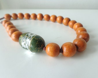 Brown orange green necklace