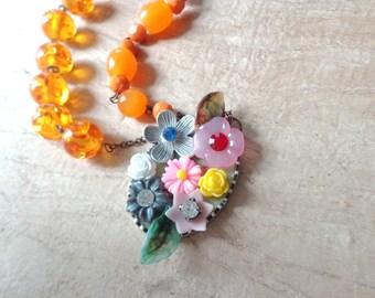 Orange All colors long asymmetrical necklace