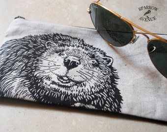 Back to School Pencil Case, Original Beaver Print, Woodland Beaver Pouch for Small Tools