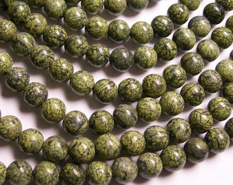 Russian Serpentine - 8 mm round beads -1 full strand - 49 beads - A quality - RFG81