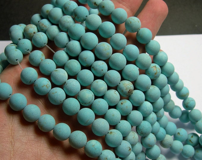 Howlite turquoise matte - 10mm beads -  full strand -  40 pcs - A Quality - RFG904