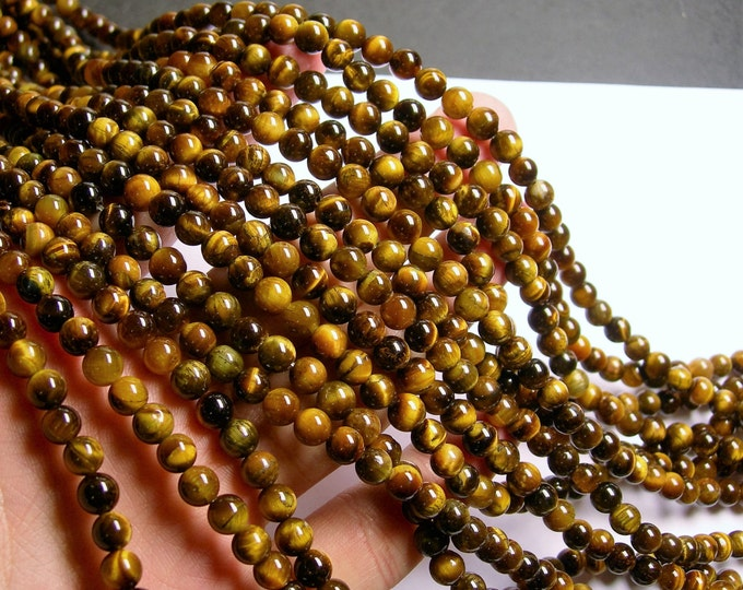 Tiger eyes - 6 mm round beads -1 full strand - 66 beads - RFG214