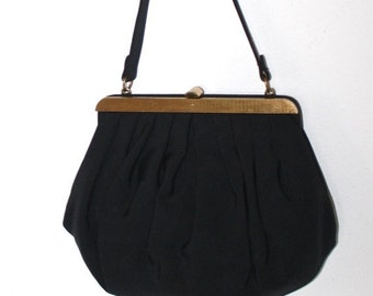 40% OFF SALE Black 1950s Evening Bag Vintage 40s 50s Formal Party Prom Purse . Fabulous Black Rayon Handbag with Coin Purse . Just Lovely