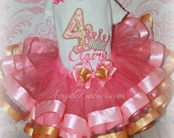 Girls Birthday 3 Piece Crown Princess Ribbon Tutu Outfit Pink & Gold INCLUDES TuTu, Hairpiece, Top Pick Name, Number, Colors