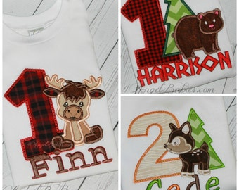 Boys or Girls First Birthday Shirt Brown Teddy Bear, Moose or Deer Woodland Forest Camping Top Red Buffalo Plaid Lumberjack Customizeable