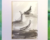 Commission Paintings for Laura -Sumi Ink Sailboats 5x7