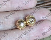 3pcs 24K Gold filled Brass Flower Ball Charm Spacer,10x11.5mm Connectors Jewelry Findings, brass spacers findings beads,Gold filled Spacers