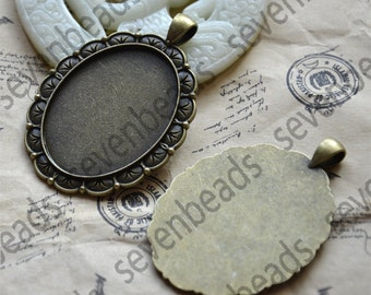 4 pcs Antique bronze oval Cabochon pendant tray (Cabochon size 30x40mm),bezel charm findings,cabochon blank findings