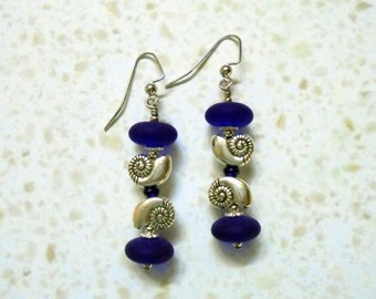 Blue and Silver Seashell Earrings (2759)