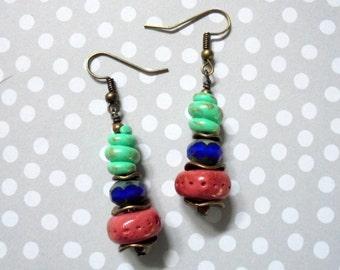 Mauve, Blue and Mint Earrings (2856)
